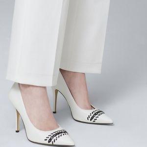 WHBM Olivia Whipstitch Leather White Heels